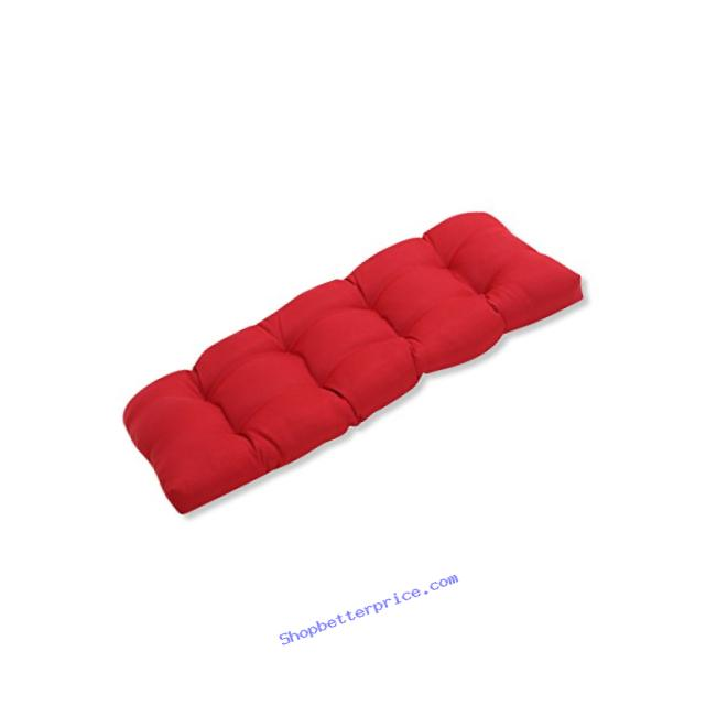 Pillow Perfect Indoor/Outdoor Red Solid Wicker Loveseat Cushion