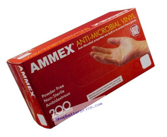 AMMEX - AAMV46100-BX - Vinyl Gloves - Anti-Microbial,Powder Free, Food Safe, Industrial, 3mil, Large, Clear (Box of 200)