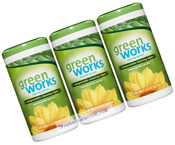 Green Works Compostable Cleaning Wipes, Original Fresh, 186 Count