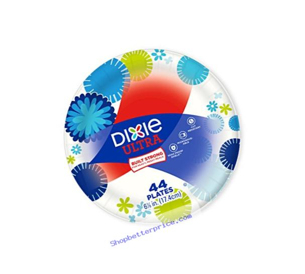 Dixie Ultra Paper Plates, 6 7/8 Inch Plates, 176 Count (4 Packs of 44 Plates); Designs May Vary