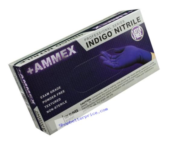 AMMEX - AINPF42100-BX - Medical Nitrile Gloves - Disposable, Powder Free, Exam Grade, 3 mil, Small, Indigo (Box of 100)