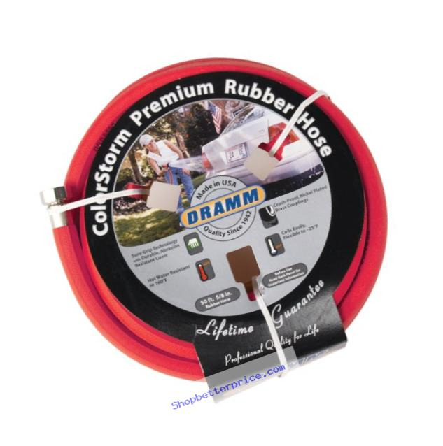 Dramm 17001 ColorStorm Premium 50-Foot-by-5/8-Inch Rubber Garden Hose, Red