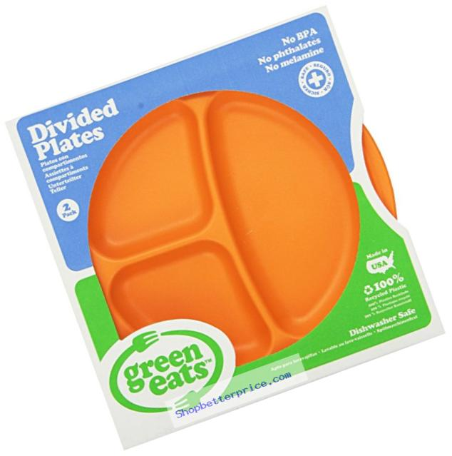 Green Eats 2 Pack Divided Plates, Orange