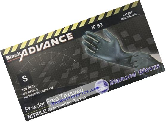 Diamond Gloves Black Advance Nitrile Examination Powder-Free Gloves, Heavy Duty, Small, 100 Count