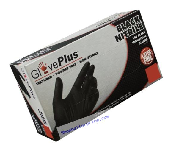 AMMEX - GPNB46100-BX - Nitrile - GlovePlus - Disposable, Powder Free, Industrial, 5 mil, Large, Black (Box of 100)