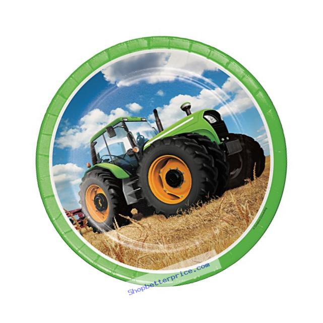 Creative Converting Tractor Time Round Paper Plates (8 Count), 8.75